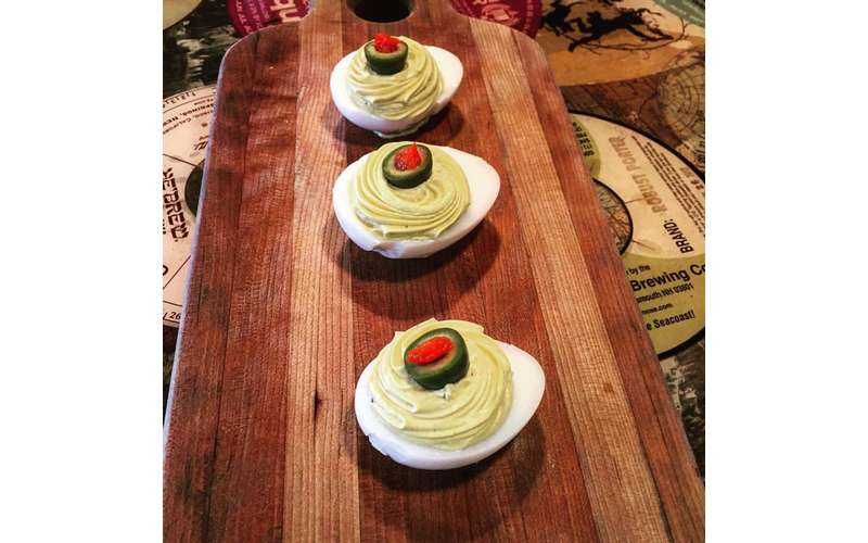Deviled duck eggs with castelvetrano olives.