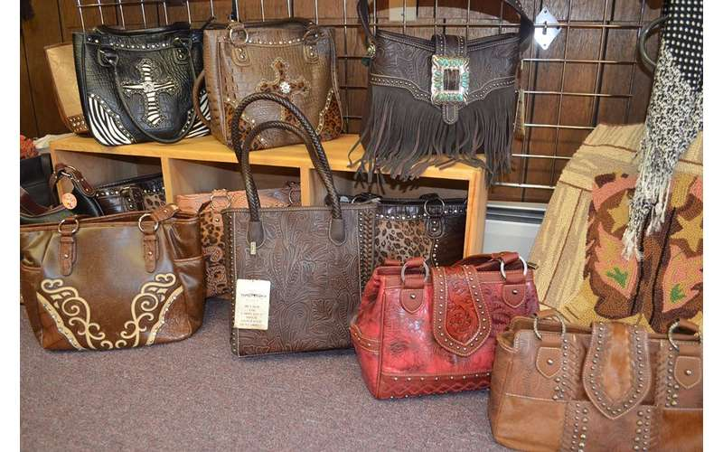 display of leather purses