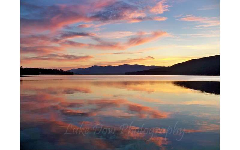dawn colors over Lake George