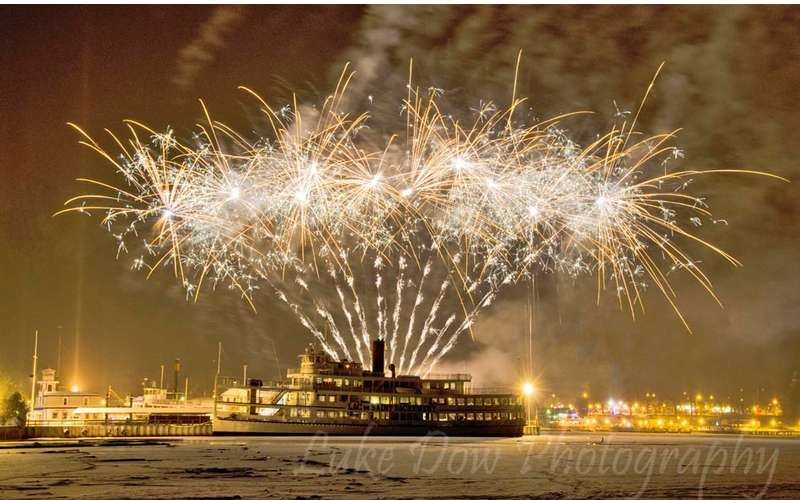 Winter Carnival fireworks in Lake George Village