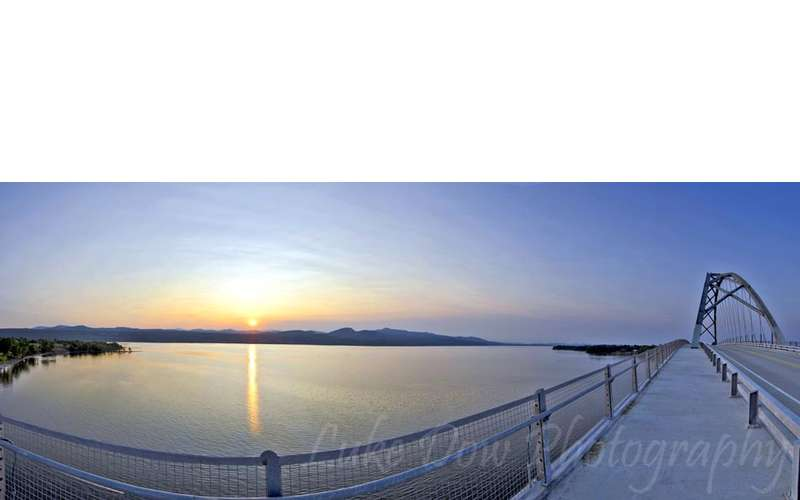 Sunset over Lake Champlain from the bridge in Crown Point