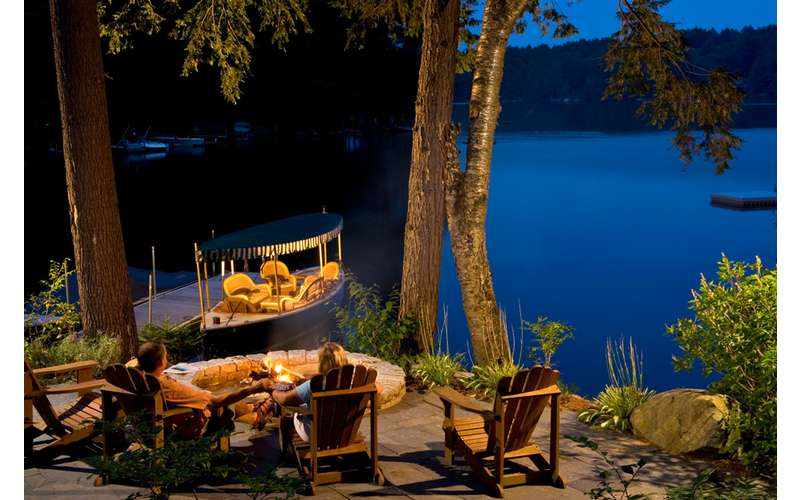 the fire pit lakeside is the scene of many a late nite s'more (or glass of wine!)