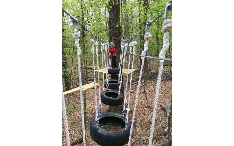 Tires, ropes, chairs - this obstacle course has it all!