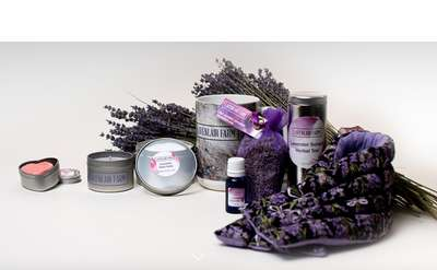 a collection of lavender products arranged nicely with a bouquet of lavender in the back