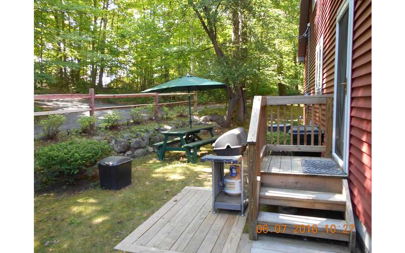 Outdoor Gas Grill & 8-foot picnic table with market umbrella