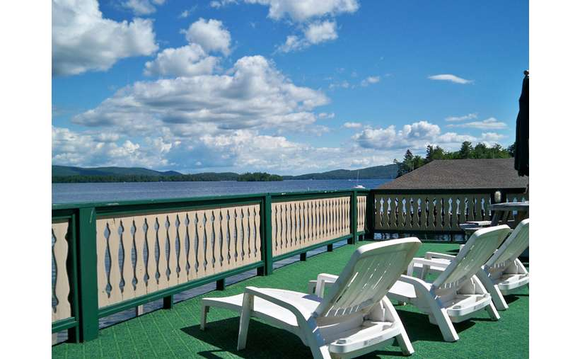 Second level sunning deck overlooking Lake George at the Treasure Cove Resort