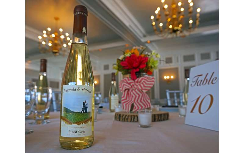 Custom labeled wine is a great option for weddings, large parties, conferences and more!