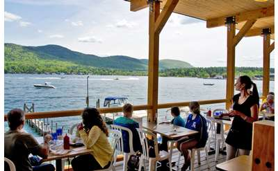 looking out over Lake George from the newly renovated upstairs deck which serves our lighter fare and lunch