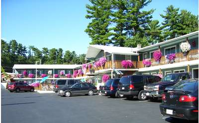 view of motel from village and parking lot