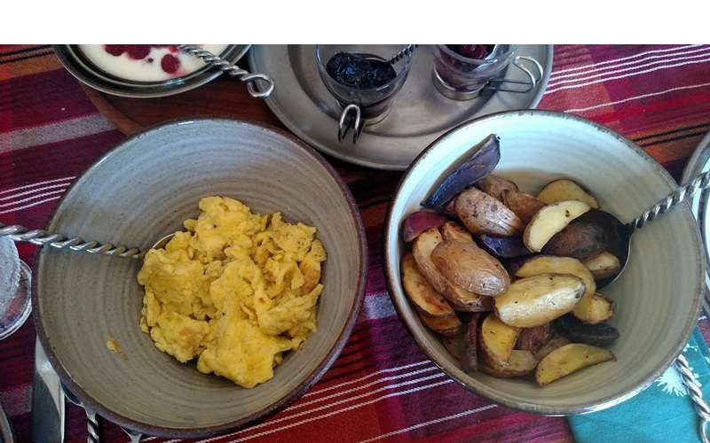 Savor the farm's bounty each morning with fluffy scrambled eggs and tasty breakfast potatoes.