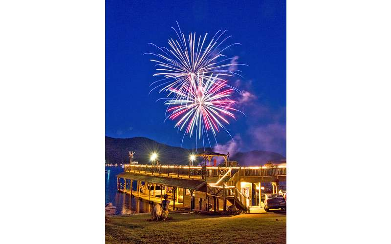 The fireworks are shot off right near our boathouse deck!