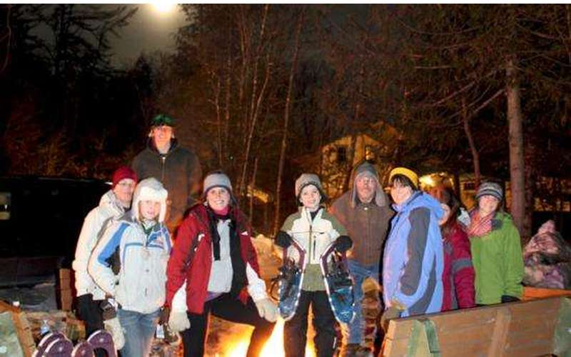 Saturday night guided snowshoe tours and bon fire
