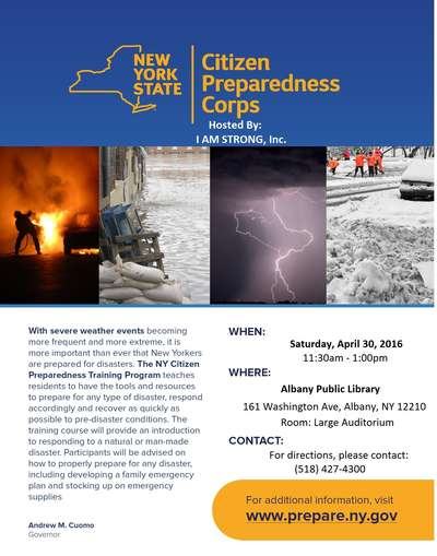 NYS Citizens Preparedness Hosted by I AM STRONG, Inc.