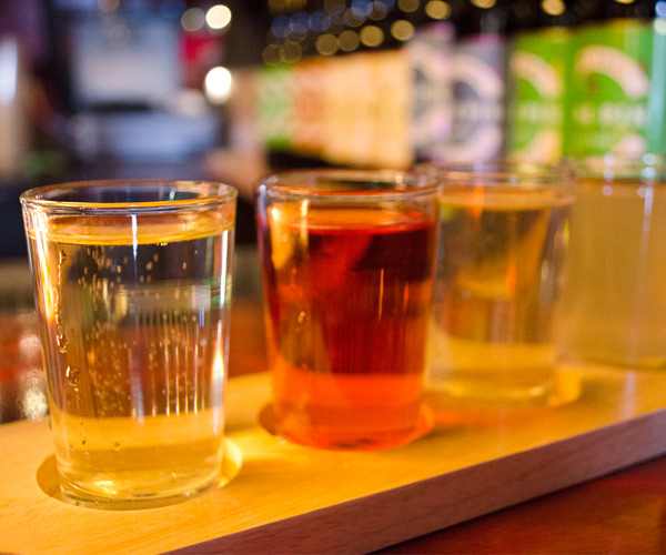 flight of cider samples