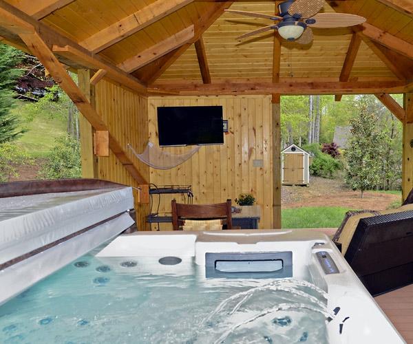 hot tub in a yard