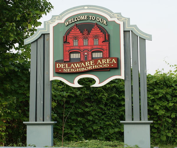 delaware neighborhood sign in albany