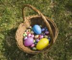 easter basket with candy eggs