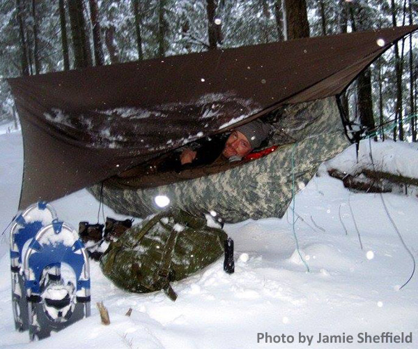 person winter camping