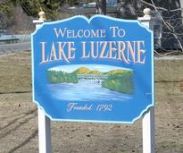 welcome to lake luzerne sign