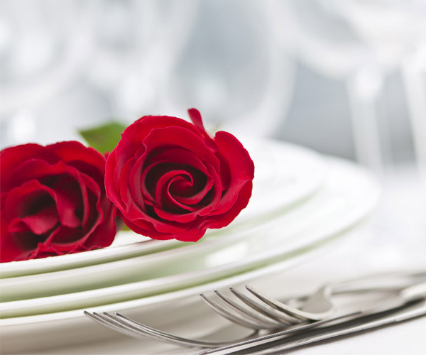roses on a place setting