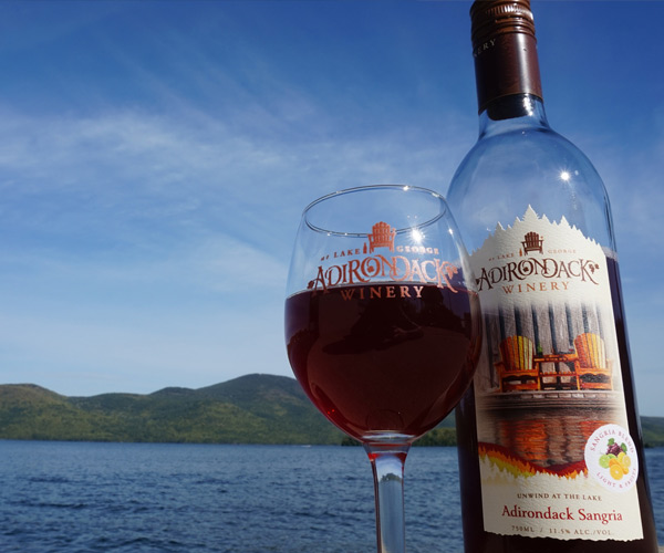 adirondack winery bottle and glass of wine