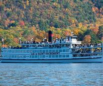 steamboat on lake george in fall