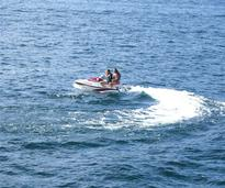 girls on a jet ski on lake george