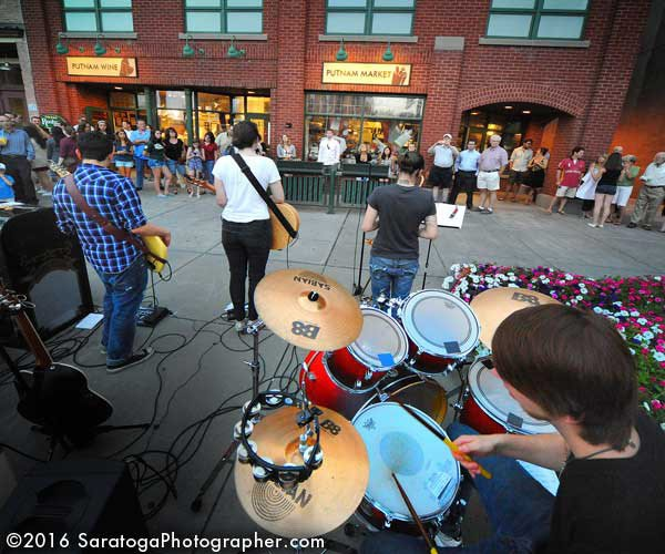 musicians performing at hats off to saratoga
