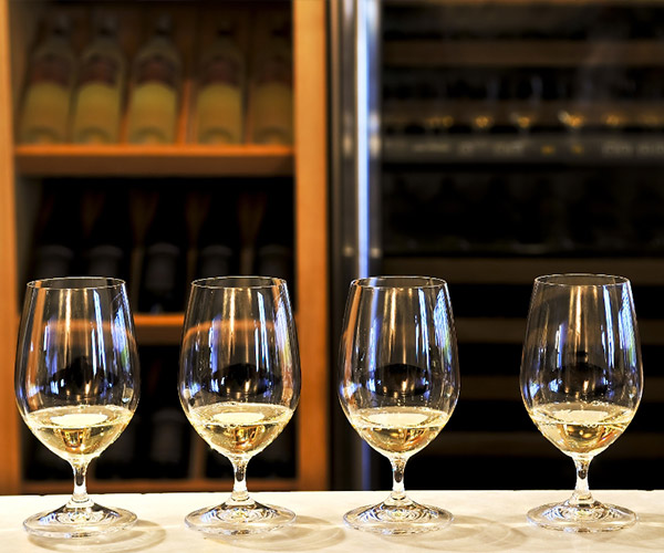 A flight of wine samples