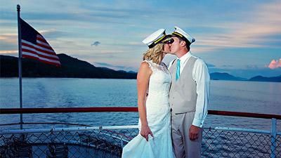 couple getting married on boat