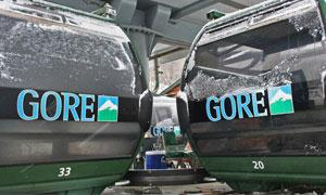 two green gondolas from gore mtn