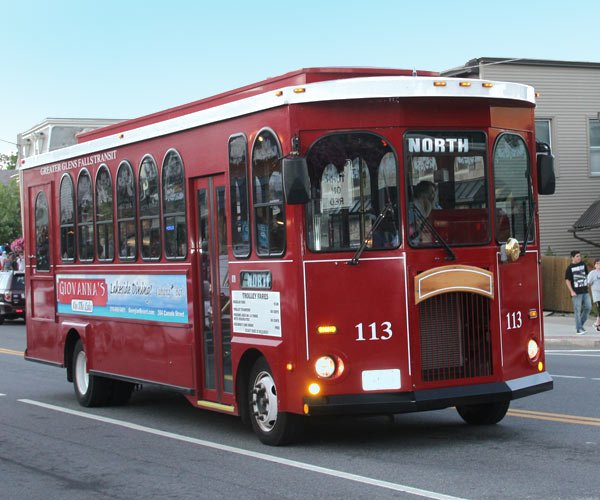 Red Trolley in Lake George