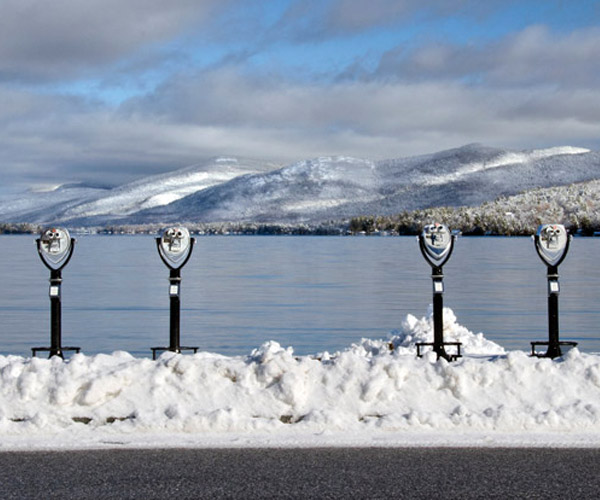 View of Lake George in the winter