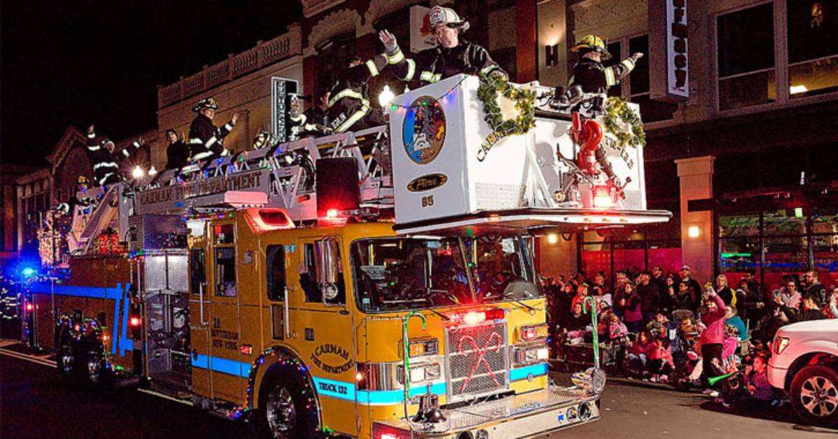 firetruck in a holiday parade