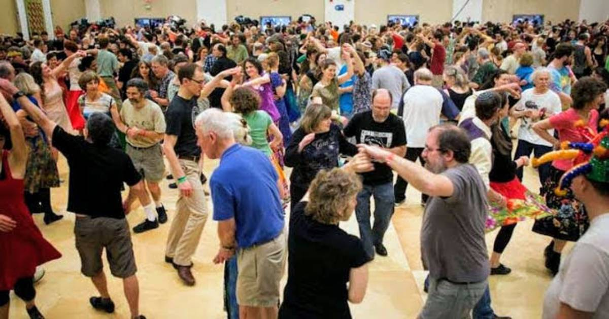 crowd of people dancing at The Flurry Fest