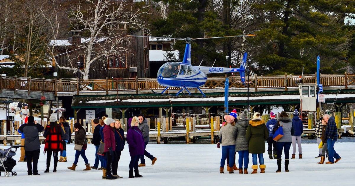 helicopter and people on ice