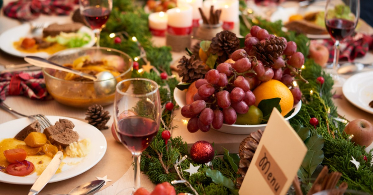 table with holiday food
