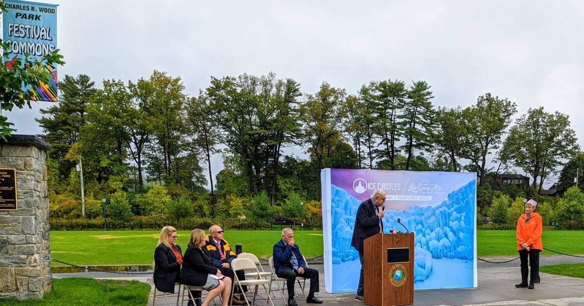 mayor speaks at press conference in park