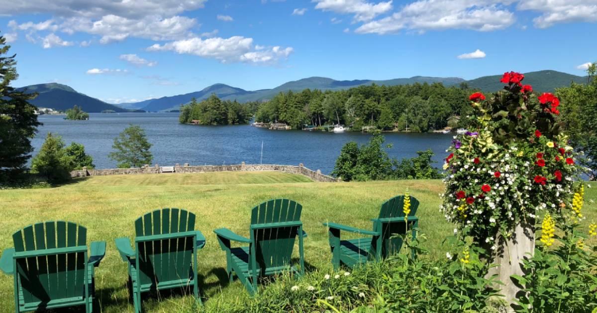 Adirondack chairs by the lake