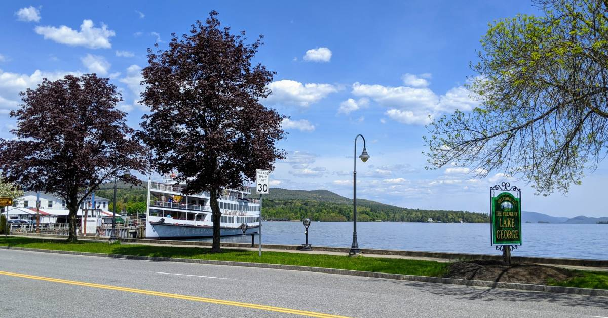 steamboats near Lake George sign by the road
