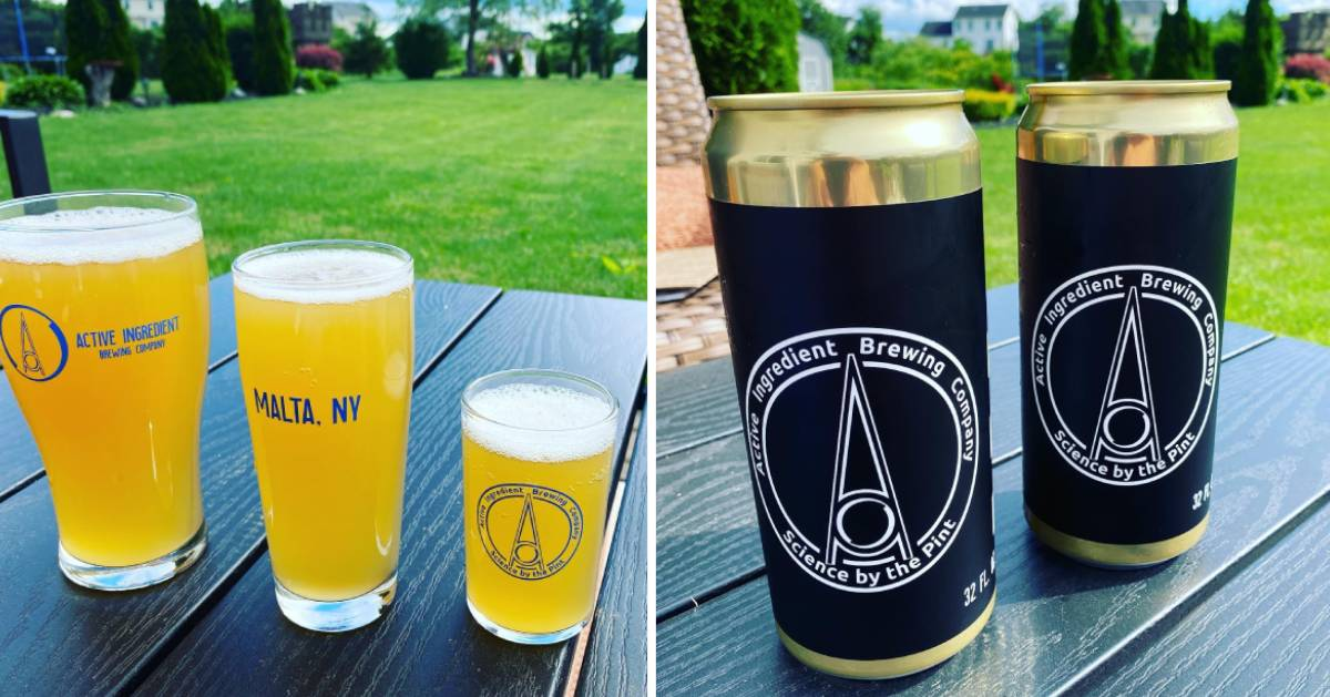 split image with glasses of beer on the left and beer cans on the right
