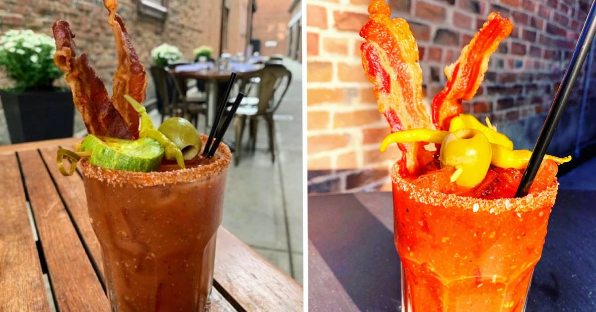 two side by side photos of bloody marys