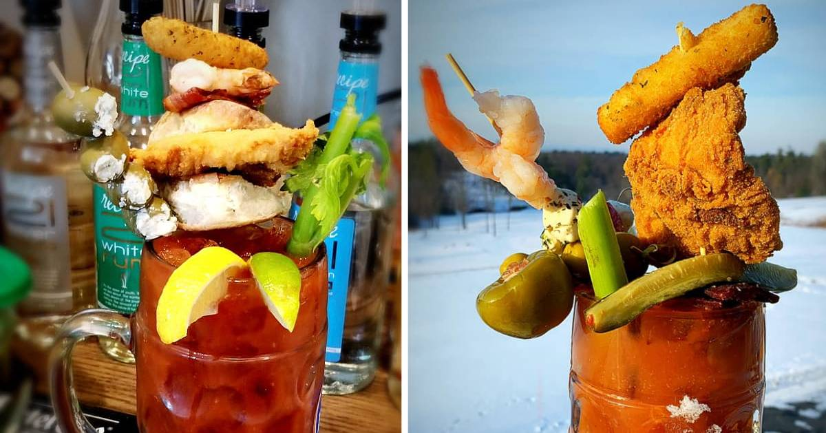 split image with bloody mary packed with stuff on each side