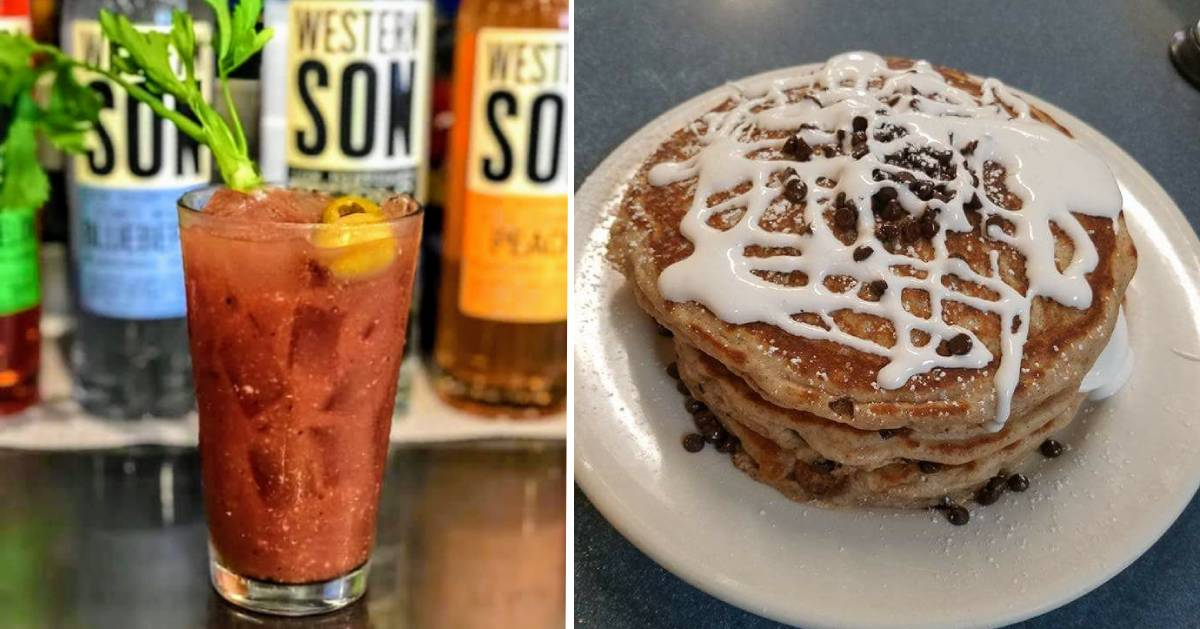 split image with cocktail on the left and pancakes on the right