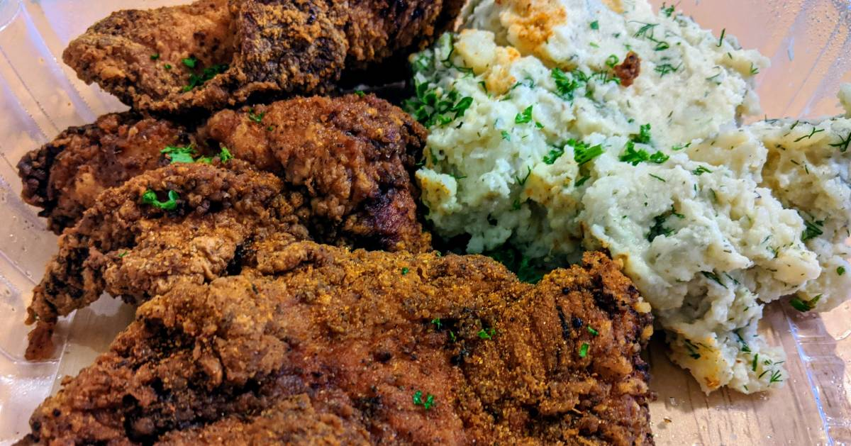 fried chicken and dill mashed potatoes