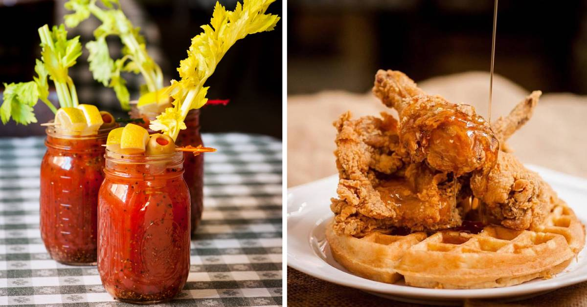 split image with bloody marys on the left and chicken and waffles on the right