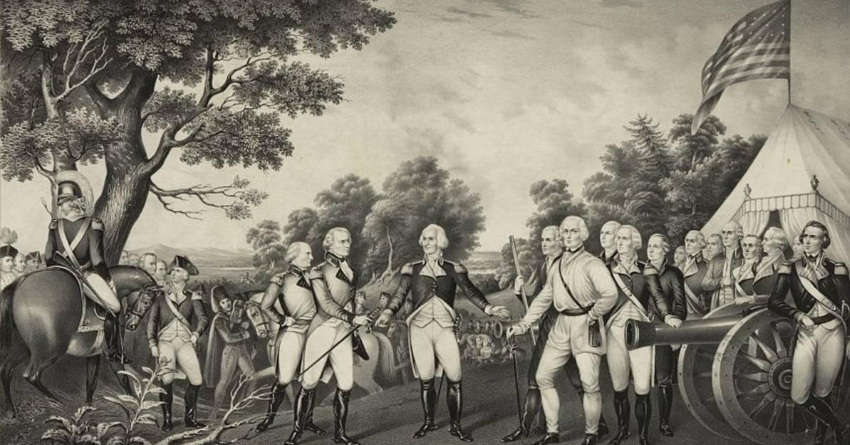 black white image of historic battlefield surrender