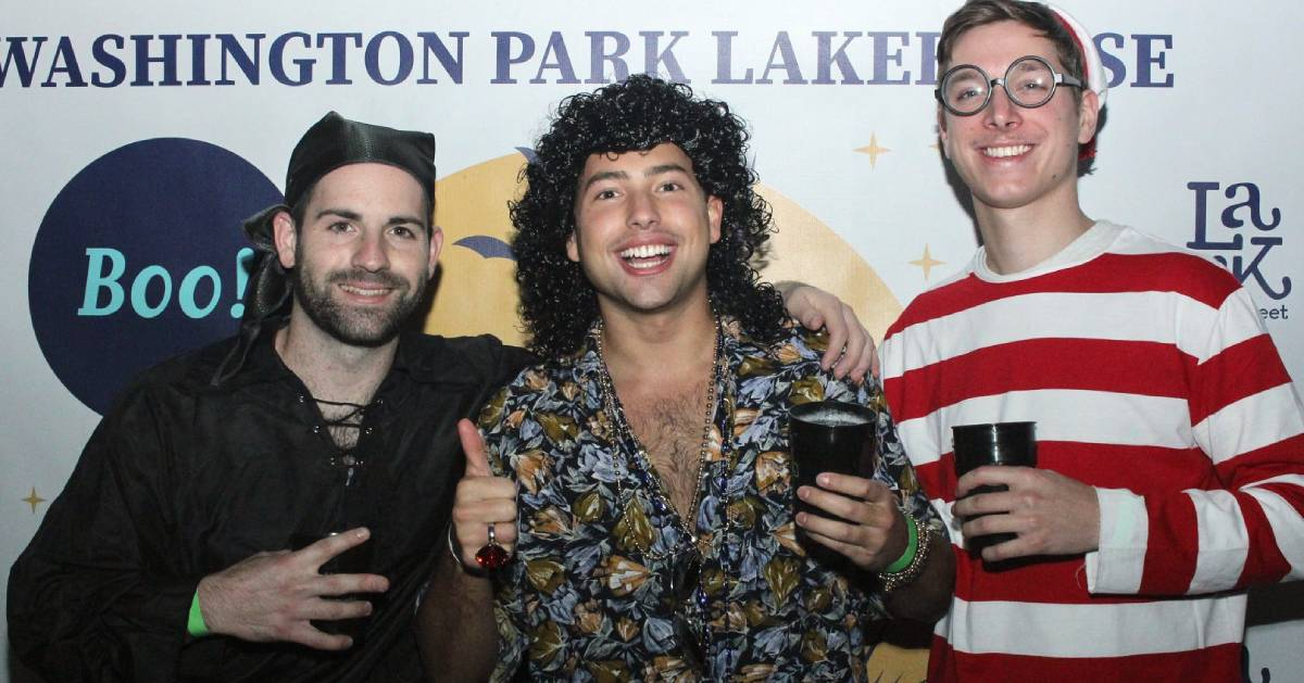 three men dressed up in halloween outfits