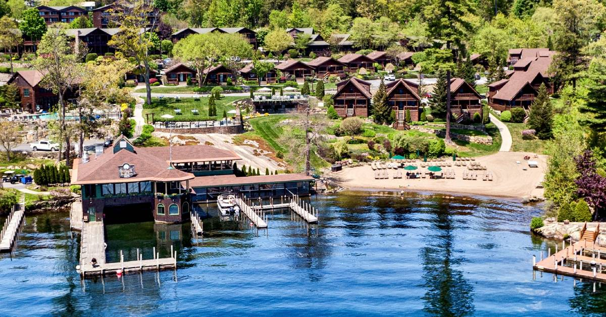aerial view of lodging by the lake