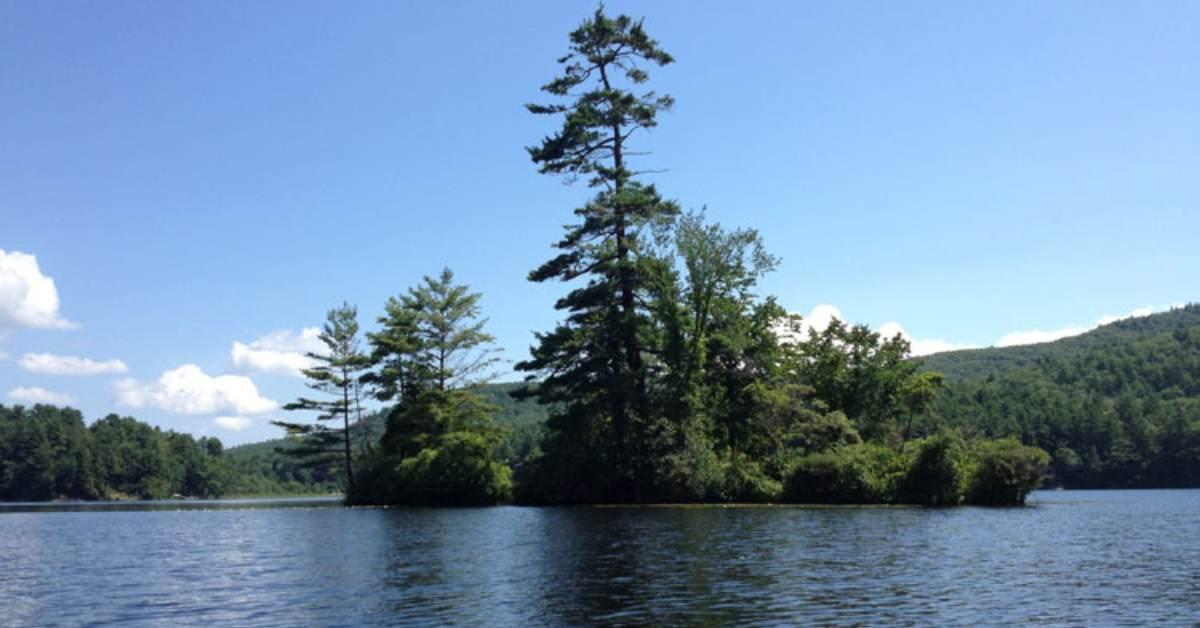 a small island on a lake